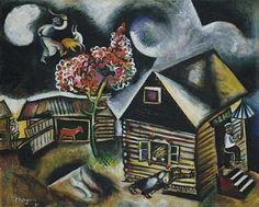 'chuva', carvão vegetal por Marc Chagall (1887-1985, Belarus)