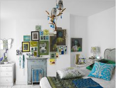 Making white a part of the color scheme using strong, vibrant colors to contrast with it.
