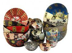 Des bols en papier mâché inspirés par les textiles africains aux couleurs vives, à utiliser comme vide-poches. #ethnique #decoration #afrique #wax