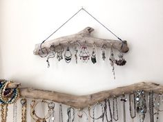 Driftwood Jewelry Organizer Wall Hanging Necklace Holder Bracelet Hanger Earring Display Tree - Bohemian Beach Decor Natural Eclectic USD) by Curiographer Jewelry Organizer Wall, Jewellery Storage, Jewellery Display, Jewelry Organization, Necklace Hanger, Jewelry Hanger, Diy Jewelry, Necklace Storage, Jewelry Stand