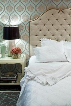 Interior Design - I love the wall paper in this room. Contemporary (Modern, Retro) Bedroom by Jamie Herzlinger