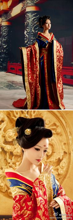 Chinese dress - Hanfu --- The colors make me think of a Chinese Snow White. Oriental Fashion, Asian Fashion, Chinese Fashion, Traditional Fashion, Traditional Dresses, Traditional Chinese, Asian Style, Chinese Style, Japan Kultur