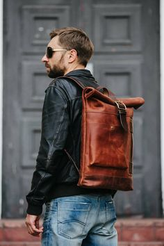Leather backpack by Kruk Garage Roll top backpack Laptop