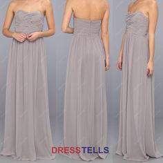 Strapless Grey Bridesmaid Dress  Simple Long by dresstells on Etsy, $109.99