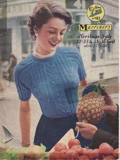 a0a14fed2ce97 Vintage 1950 s Knitting Pattern Classic Raglan Sleeve Sweater   Jumper  fancy pattern 32 - 38