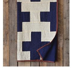 Trending home accents at skyiris.com - One of our very favorite throws - Cross Indigo Blue and White Kantha Lightweight Throws - add as a quilt layer