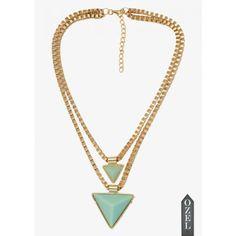 Accessories trend: #geometric  Turquoise traingle NeckPiece