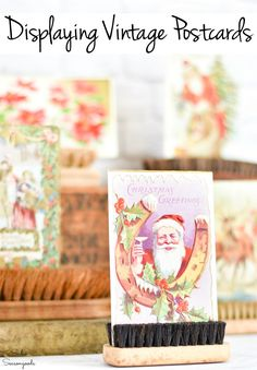 Displaying vintage postcards in old scrub brushes All Things Christmas, White Christmas, Christmas Crafts, Thanksgiving Decorations, Halloween Decorations, Christmas Decorations, Vintage Christmas Cards, Christmas Greetings, Christmas Craft Projects