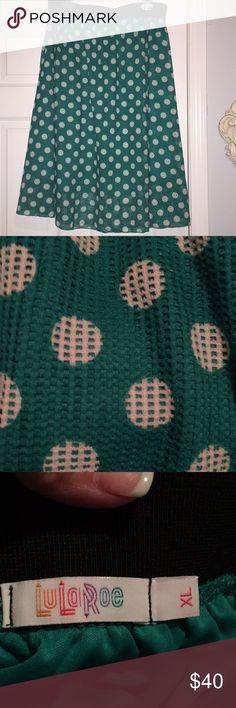 VGUC LuLaRoe XL polka dot Lola VGUC LuLaRoe XL polka dot Lola, worn once and dry cleaned LuLaRoe Skirts