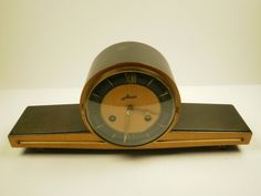 Brilliant Contrasting Colours Mechanical Mid Century Modern Haid Chiming Mantle Clock From Germany 60's