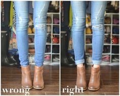 How to wear booties? This season's must-have item. Booties 101- A how to guide. Dos and don't cuffing jeans with booties