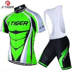 6a5f08cd2 X-Tiger Short Sleeve Cycling Jersey set Flour Green MTB Bike Clothes Mans Summer  Bicycle Clothing Maillot Conjunto Ropa Ciclismo