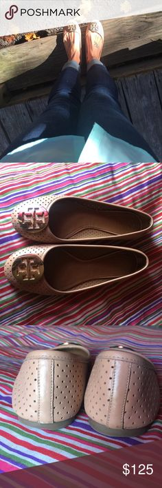 Tory Burch Nude Perforated Leather Reva Flats Gently worn with light signs of wear, I got so many compliments when I wore these. Very cute flats and they could be yours at a fraction of retail! Tory Burch Shoes Flats & Loafers