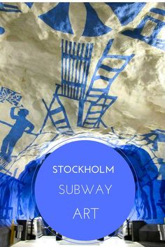 """Many metro stations in Stockholm, Sweden are decorated with unique art displays! The Stockholm metro is even called """"the world's longest art gallery""""."""