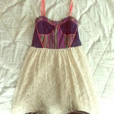 Flying tomato summer dress, multi colored Lace and a muticolored bustier top bring some fun to your closet! Only worn once and in great condition! Great with a cardigan or denim jacket and sandals! 70% cotton. Flying Tomato Dresses Mini