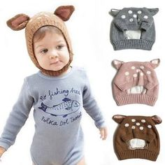 Cute Deer Knit Baby Bonnet with Ears Baby Winter Hats, Baby Girl Hats, Girl With Hat, Baby Boys, Baby Hats Knitting, Knitted Hats, Newborn Baby Caps, Deer Ears, Baby Hut