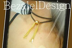 Leather Choker Goldfilled ball Necklace Gold filled ball