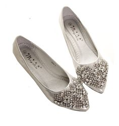 QINGYUAN Women's Shinney Beads Flats Basic Leisure Footwears US 11 Silver. Suede. Suit For Driving, Walking, Shopping. Slip Ons. Man made materials.