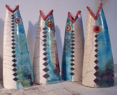 Four raku fish - These are by John Watson, a fantastic Tasmanian artist. Sculptures Céramiques, Fish Sculpture, Pottery Sculpture, Pottery Animals, Ceramic Animals, Clay Animals, Ceramic Clay, Ceramic Pottery, Pottery Art