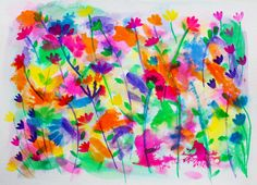Floral wild flower original abstract ink drawing by Catrin Saywell