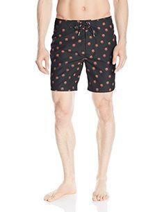 5fb117482 Sundek Mens Palm Print 17 Inch Low Rise Boardshort Black 34 ** Click the  swimwear