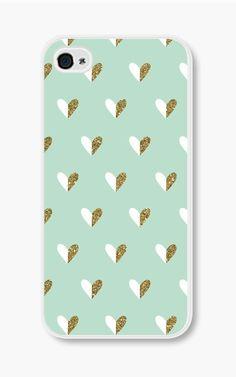 Gold Heart iPhone Case Mint Green iPhone