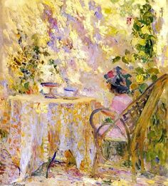Young Girl by the Trellis ~ Henri Lebasque ~ (French: 1865-1937)