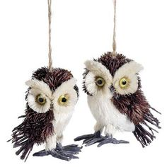"""Check out this item at One Kings Lane! S/4 5"""" Glittered Owl Ornaments, Brown"""