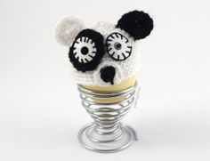 Egg Cozy EASTER Panda Cozy EGG Warmer Crochet Wool Egg Cup Kitchen Cute Black and white - Save 50% off until May 24, 2014 with the code OYEAH