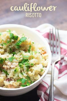 If you've ever wondered how to make risotto low carb, you're going to love this cauliflower risotto recipe! It's one of my favorite low carb side dishes! Low Carb Side Dishes, Side Dish Recipes, Veggie Recipes, Low Carb Recipes, Healthy Recipes, Rice Recipes, Main Dishes, Recipies, Cilantro Lime Cauliflower Rice