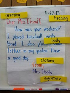 letter writing anchor chart...maybe put Velcro on the parts to the letter and have them identify