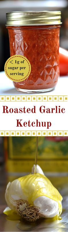 Tired of mass produced ketchup with high fructose corn syrup? Try making this healthier Roasted Garlic Ketchup. Less than of sugar per serving vs. of sugar in most store bought ketchup. Sauce Recipes, Keto Recipes, Healthy Recipes, Healthy Food, Food Storage, Shrimp Cocktail Sauce, Sauce Au Poivre, Pesto, Homemade Ketchup