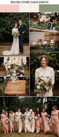 Take a look at the best wedding themes spring in the photos below and get ideas for your wedding! classic peach and navy blue weddings Image source Blush, ivory, and sage green spring wedding color palette Green Spring Wedding, Sage Wedding, Wedding Day, Trendy Wedding, Diy Wedding, Wedding Blush, Spring Green, Wedding Cakes, Wedding Suits