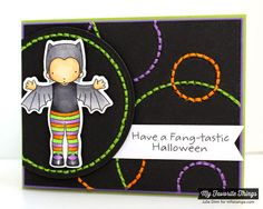Batty About You stamp set and Die-namics, Fishtail Flags Layers STAX Die-namics, Stitchable Dot Circle STAX Die-namics - Julie Dinn #mftstamps