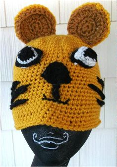 Mr. Tiger shows his stripes! He is one of the animal hats crocheted by Ioni and is waiting for your child at Ioni's Creations! https://www.etsy.com/listing/154377681/mr-tiger-crochet-childrens-hat?ref=shop_home_active