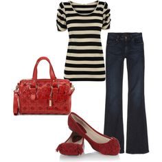 Black/white striped shirt + wide leg denim + red flats [weekend chic/level 2] http://www.franticbutfabulous.com/2011/11/01/working-mom-outfits-level-2-weekend-chic/