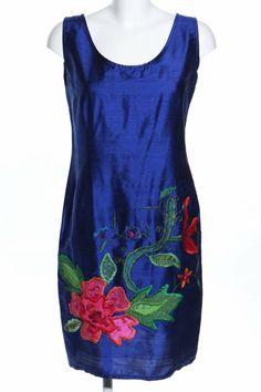 44 46 hellblau geblümt Viskose Stretchkleid Kleid Jersey Minikleid Gr