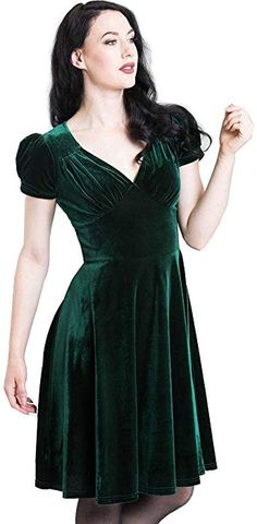 Hell Bunny 40s 50s Elegant Pin Up Dress Joanna Crushed Velvet Green XL 16   Amazon 0e8101dba