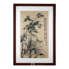 """25""""*17""""handmade silk Embroidery with green Bamboo and chinese writing on side brown wooden framed perfect for wall décor-Overseamall"""