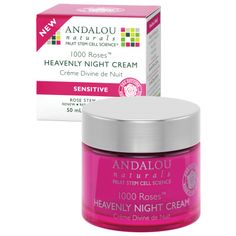 Andalou 1000 Roses Heavenly Night Cream provided heavenly dose of skin nutrition. A velvety soft cream with apine rose stem cells delivers essential hydration and dermal vitality to soothe and nourish sensitive skin as pomegranate uplifts tone and hyaluronic acid and aloe vera revive skins hydro-lipid barrier for a flawless looking complexion. Natural and organic ingredients, GMO free. No parabens!