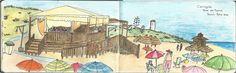 Chiringuito en la Playa. Torre del Puerco  Lápices acuarelables