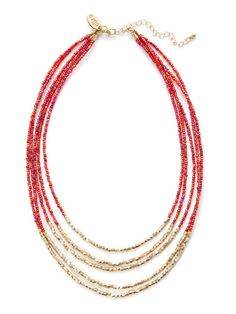 Cara Couture gold & red bead multi-strand necklace