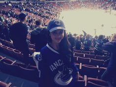 Michelle at Rogers Arena for Canucks game