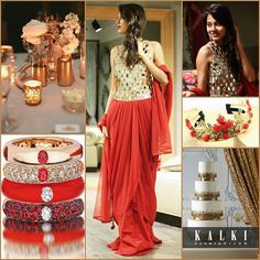 Theme your wedding to match the lovely red and gold combination. Dress up in this adorable mirror-worked gown for your sangeet function and stack some matching bangles. Keep the décor gold and glam the simple cake with golden glitter. Wear your floral crown to conquer everyone's hearts.