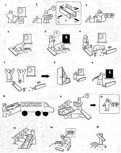 Ikea Instructions - just like the real deal, LOL.  Illustration by Scufflehome.org