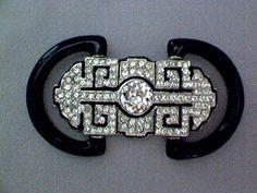 Black Onyx and Diamomd Art Deco Brooch