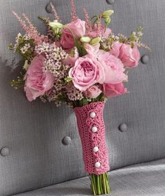 Made with REAL TOUCH silk flowers and Crocheted handle. From Jeri's Fashions. No TWO bouquets ever alike for brides.