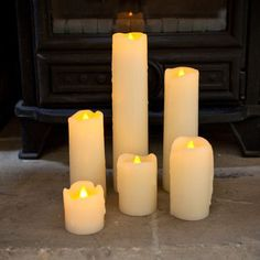 Set Of 6 Slim LED Battery Pillar Candles With Dripping Wax. Led Candle Lights, Battery Candles, Xmas Lights, Candle Lanterns, Pillar Candles, Drip Candles, Led A Pile, Bougie Led, Interiors
