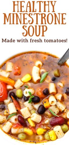 This healthy vegan minestrone soup recipe is made from fresh ripe tomatoes and may be the best soup you will ever eat!  Whip it up in 1 pot with your choice of regular or gluten-free pasta.  Throw in some kale to make it even healthier! #vegan #thehiddenveggies.com Beef Recipes, Soup Recipes, Vegan Recipes, Vegan Soups, Vegetarian Soup, Healthy Dishes, Healthy Soup, Vegan Potato Soup