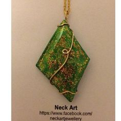 Neck Art Pendant Diamond Green on Handmade Australia $20